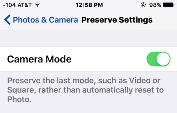 Set default camera mode with preserve camera setting in iOS