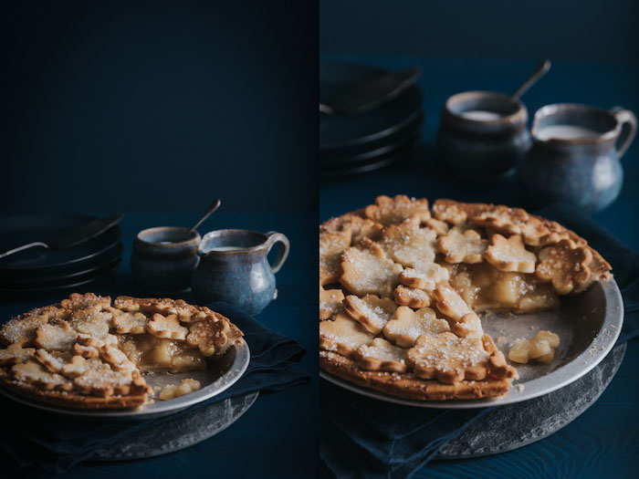 Diptych photo collage showing 2 different angles of a baked apple pie with blue dishes, cutlery and background.