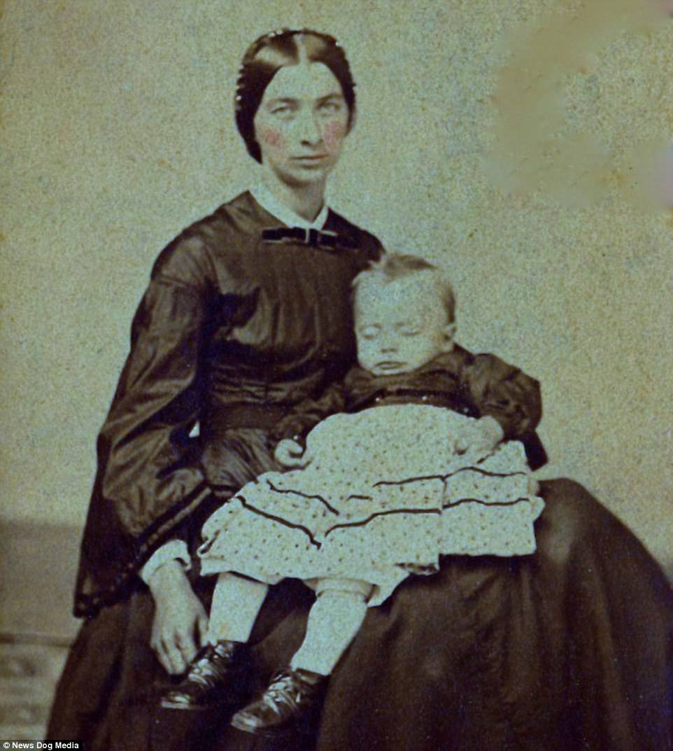 A Carte de Visite of a grieving mother with her deceased son, circa 1863. In early images, a rosy tint was even added to the cheeks of corpses
