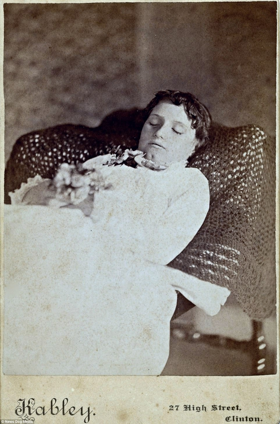 A deceased Mary Maria Stuart, circa 1885. Photographers would try to make the dead subjects appear alive in the images so that the photographs could serve as mementos for their family