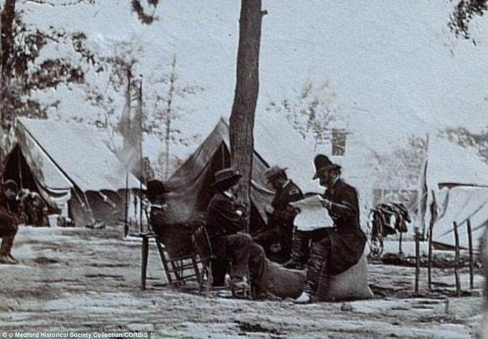 1864, in Virginia, with Major General Ambrose Everett Burnside (left) at 9th Army Corps headquarters at Cold Harbor, Virginia