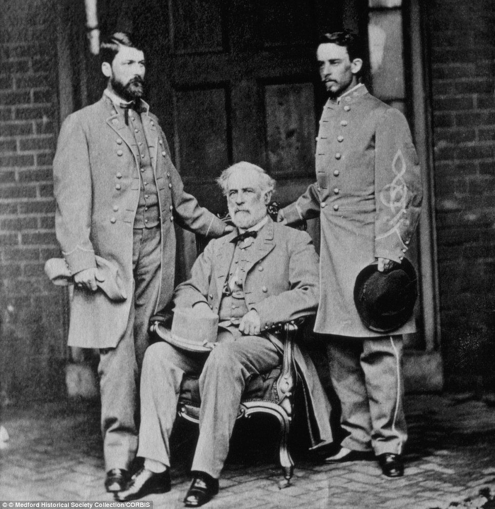 General Robert E. Lee (center) and his aides-de-camp, Major General George Washington Custis Lee (left) and Col. Walter Taylor (right), taken in Richmond, Virginia, on April 16, 1865
