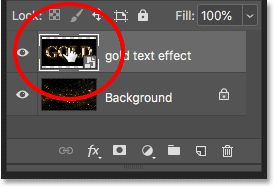 Opening the smart object to view the text effect document in Photoshop