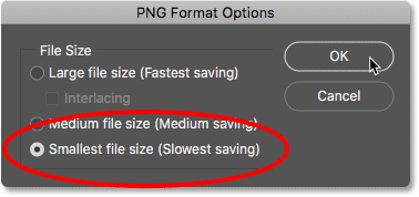 Setting the PNG format options in Photoshop