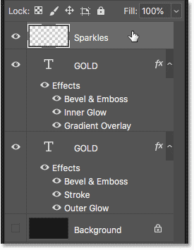 Selecting the top text effect layer in the Layers panel